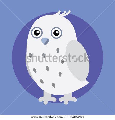 Illustration of white owl - stock vector