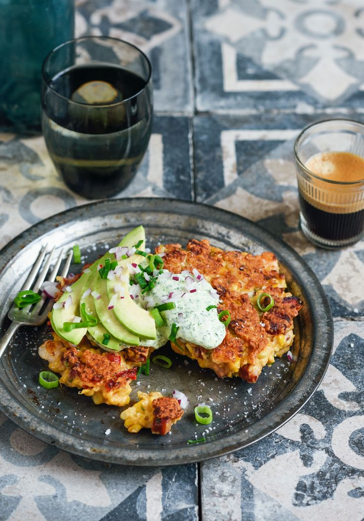 long weekend brunch – corn, prawn & chorizo fritters – Stuck in the kitchen