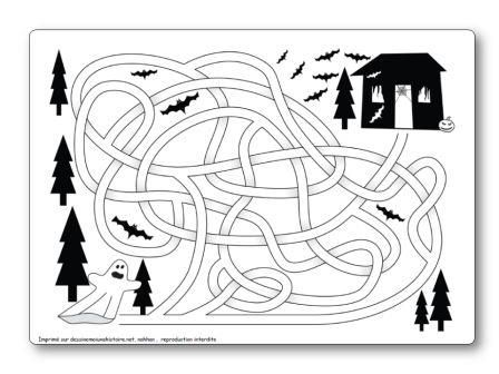 http://dessinemoiunehistoire.net/ Labyrinthe Halloween fantôme vers maison hantée