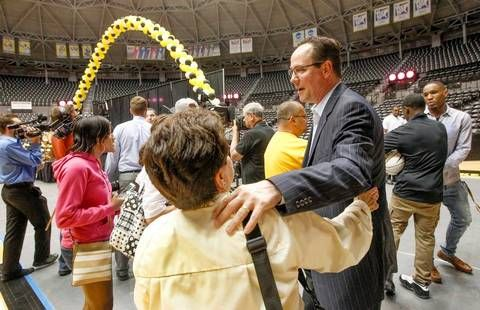 Wichita State coach Gregg Marshall talks with fans at the conclusion of the WSU basketball awards celebration at Koch Arena Thursday. (April 16, 2015)
