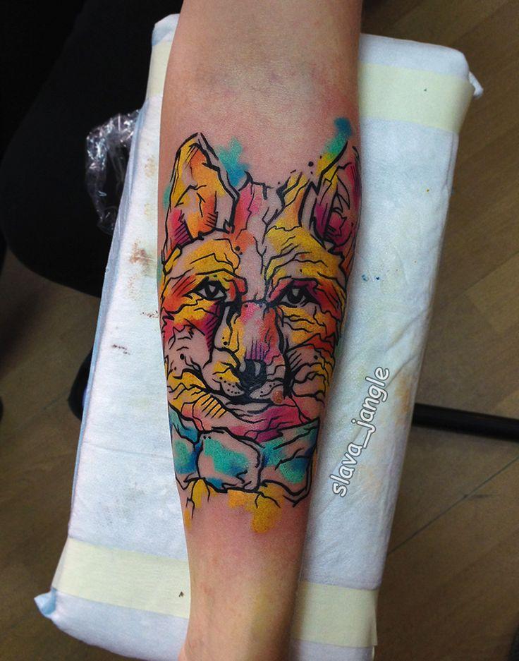 tattoo artist Slava Jangle fox watercolor tattoo акварельная татуировка лиса