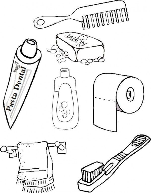 útiles De Aseo Para Colorear Fichas Infantiles Y