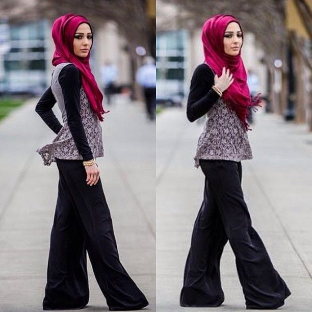 Wide Legged Trouser, Peplum Top, Maroon/Red Hijab #modeststyle #hijabi #fashion