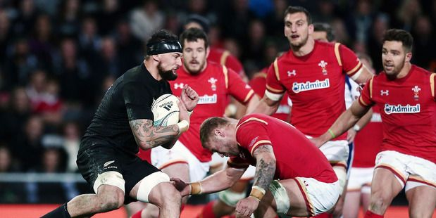 Elliot Dixon charges into Ross Moriarty of Wales during the International Test match between the All Blacks and Wales at Forsyth Barr Stadium. Photo / File