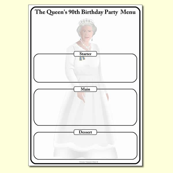 The Queen's 90th birthday Menu worksheet.