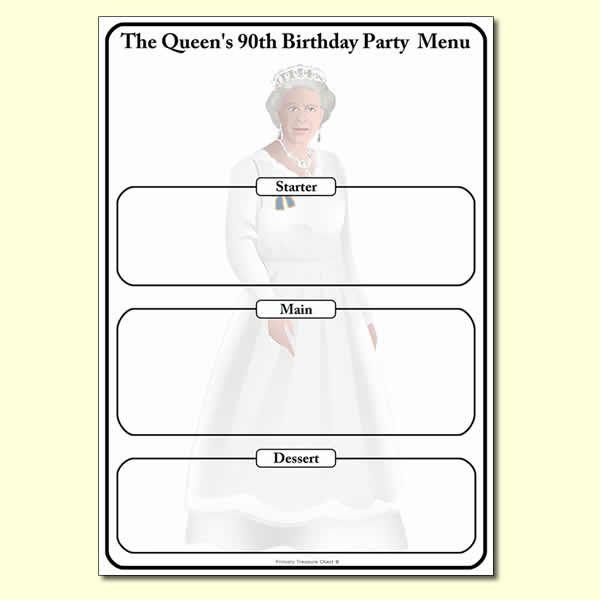 The Queen's 90th birthday Menu worksheet.