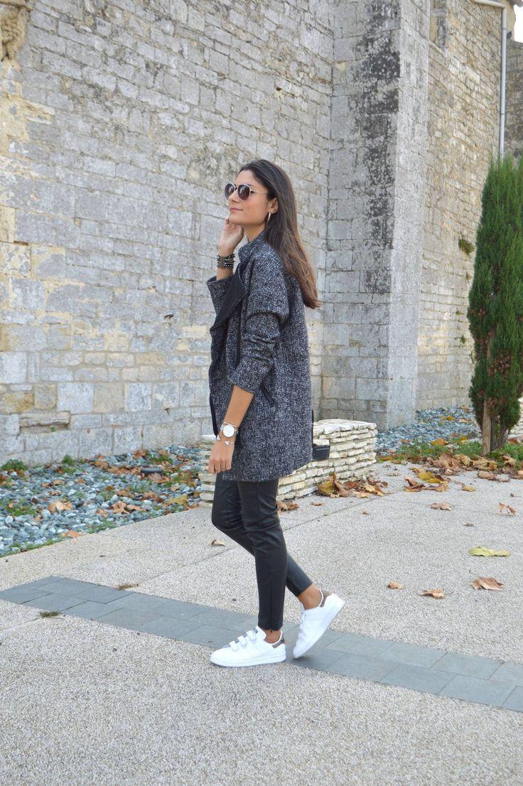 manteau gris chiné - stan smith scratch - slim noir