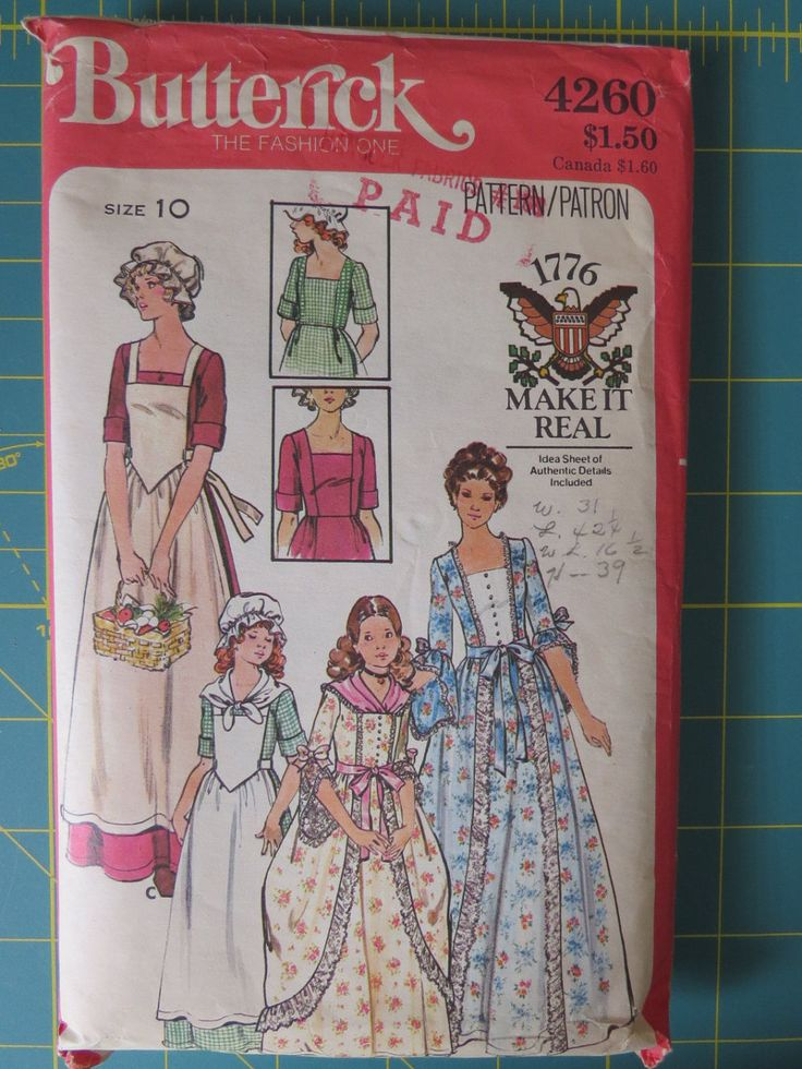 Dolly Madison Costume Sewing Pattern Butterick 4260  Misses' Dress, Size 10  -  1776 Make It Real - Theater, School Play by EMStreasureseekers on Etsy