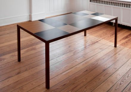 oak/mocca table | Superobjekt // tabletop in leftover wood from furniture production the pattern is constructed from oak veneer and hand painted stainless steel frame painted black  L: 200 cm x D: 100 cm