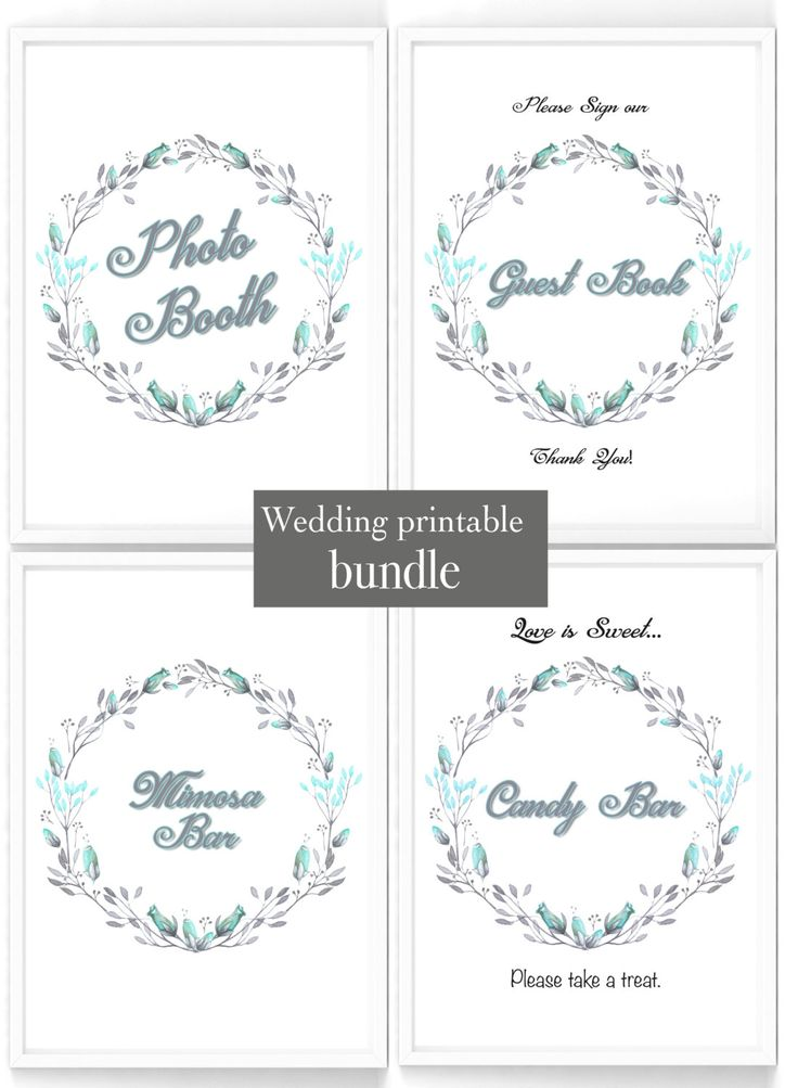 Printable Wedding shower table sign bundle, 4 signs, Photo Booth, Mimosa bar, Sweet Table & Guest Book signs, turquoise wedding display set by PaperBoutiqueCA on Etsy