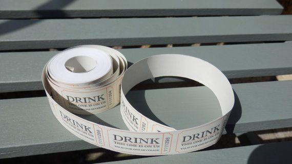 Drink tickets. Wedding favors. Wedding by Pearlypantscrafts