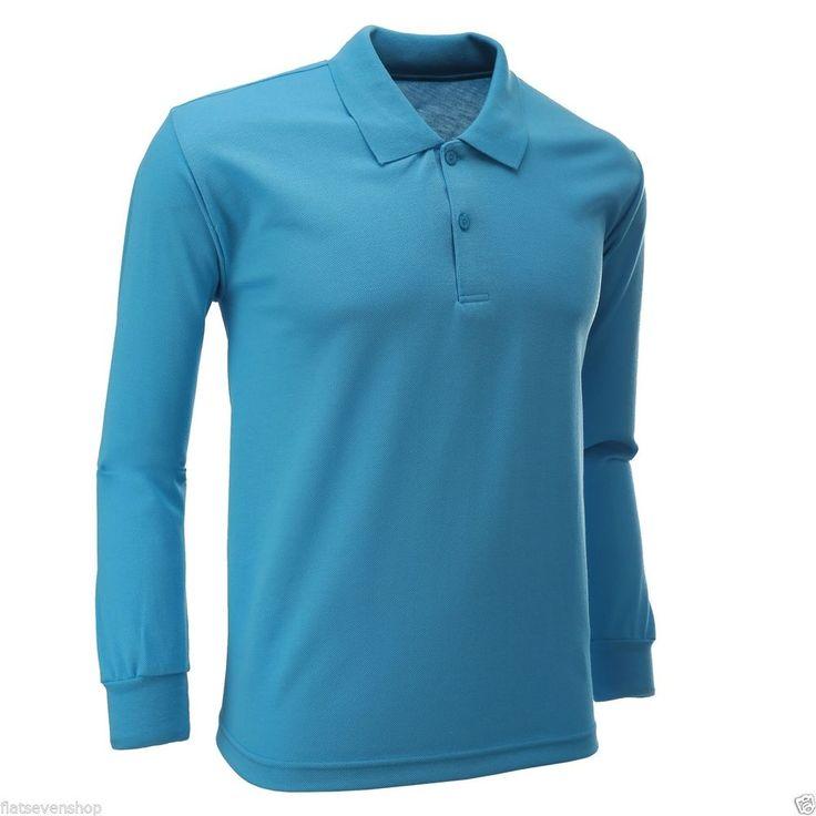 FLATSEVEN Mens Poloshirt Langarmshirt (PL01)in 18 Farbe