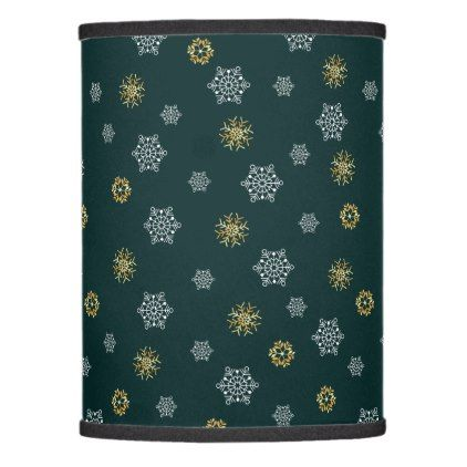 Stylish white and foil snowflakes teal lamp shade - foil leaf gift idea special template