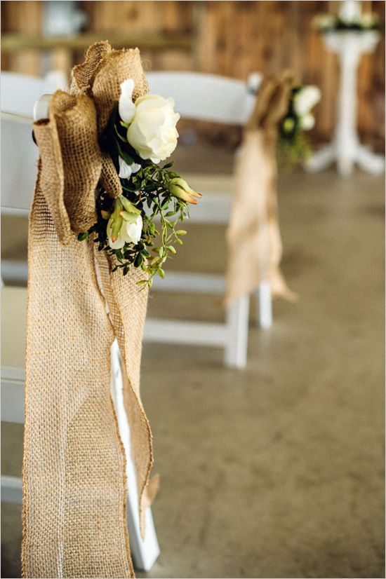 burlap and floral aisle decor