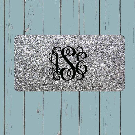SILVER GLITTER(NOT actual glitter) License Plate-Monogram Car Tag Teal Front License Plate Personalized Plate Circle Font