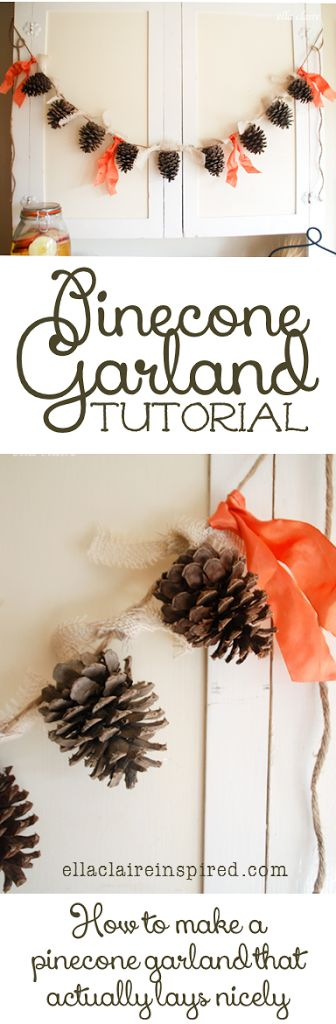 How to make a Fall pinecone garland that actually lays nicely without the pinecones facing different ways. This would be so cute for Christmas too.