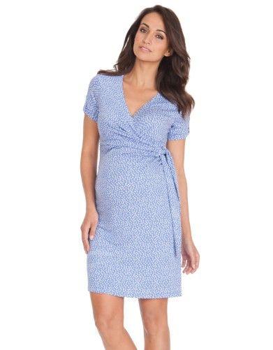 Short Sleeve Baby Blue Polka Dot Maternity Dress |Seraphine Maternity; $95