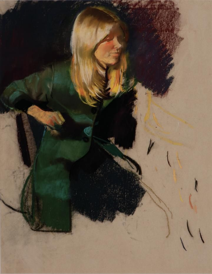 Csernus, Tibor, Blonde Girl in Green Coat, Undated, Pastel , Paper