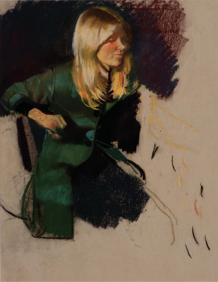 Csernus, Tibor, Blonde Girl in Green Coat, Undated, Pastel , Paper