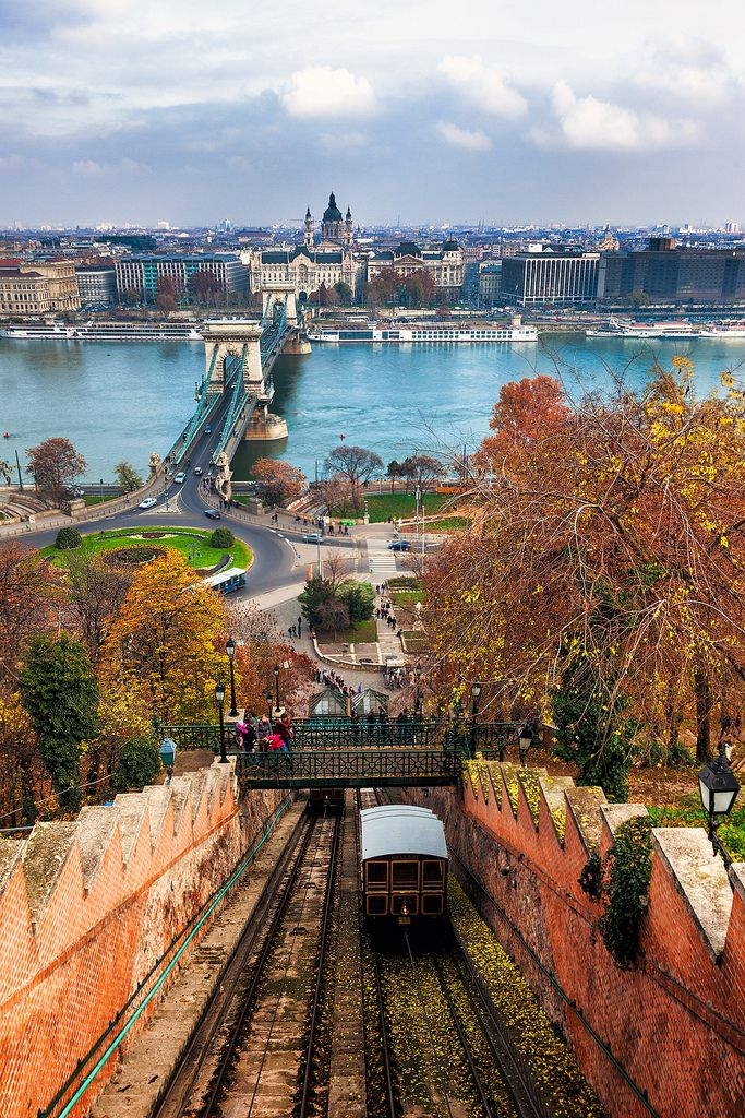 """Budapest - Climbing Castle Hill"" by Nomadic Vision on Flickr - BUDAPEST, HUNGARY ~ CLIMBING CASTLE HILL :  A tram makes its way up Castle Hill in Budapest with the Chain Bridge in the background."