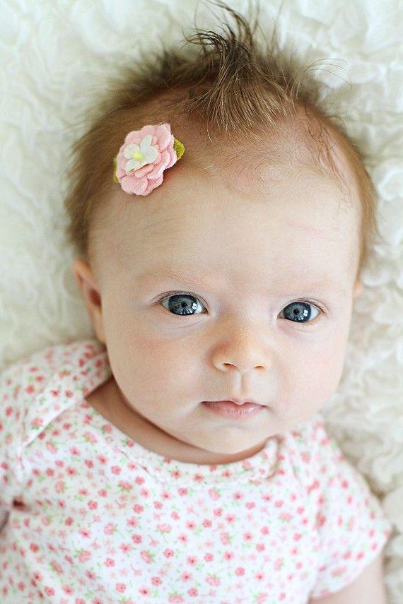 Baby newborn felt flower bows Itty bitty collection