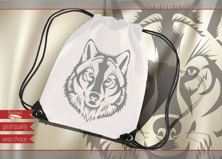 Wolf tribal silhouette  Sport Bags Backpacks White / Gray print. Polyester W300 #Unbranded #Backpack