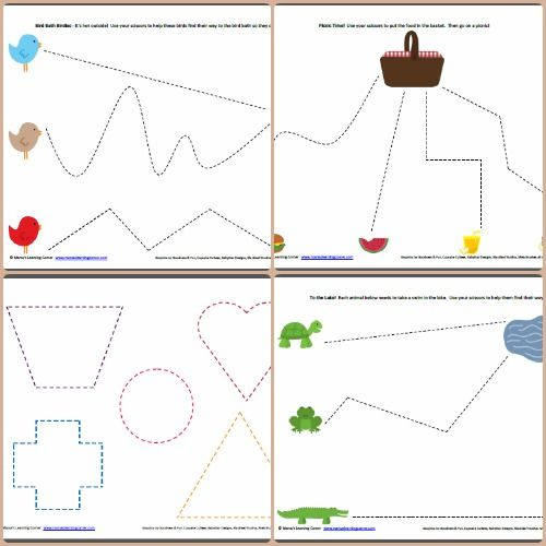 Fine Motor Skills! Practice cutting with these papers! (with preschool scissors and parental supervision, of course.) This site has tons of ideas!