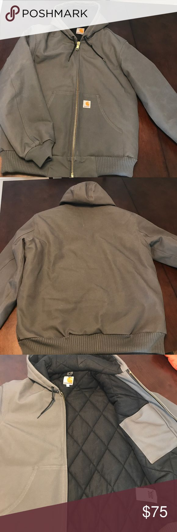 NWOT Carhartt Hooded Full Zip Jacket NWOT gray hooded jacket for sale. Full zip front with 2 outside pocket and one inside pocket. Carhartt Jackets & Coats Performance Jackets