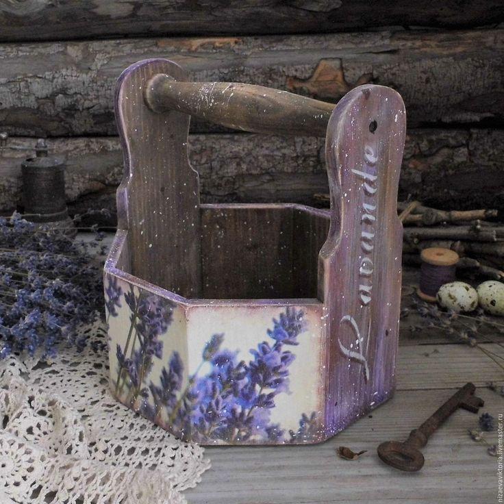 """Купить """"Лавандовая пыльца"""" Деревянная корзинка - деревянный короб, прованс, кантри, винтаж, кухня"""