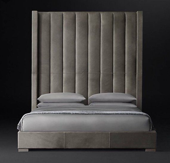 Wingback Headboard Bed Frame Restoration Hardware Tall 96 Inch Etsy Leather Platform Bed Leather Bed Headboards For Beds