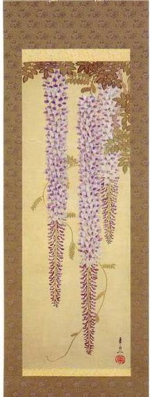 江戸 鈴木其一. Suzuki Kiitsu. Wisteria. Japanese hanging scroll. Nineteenth century.
