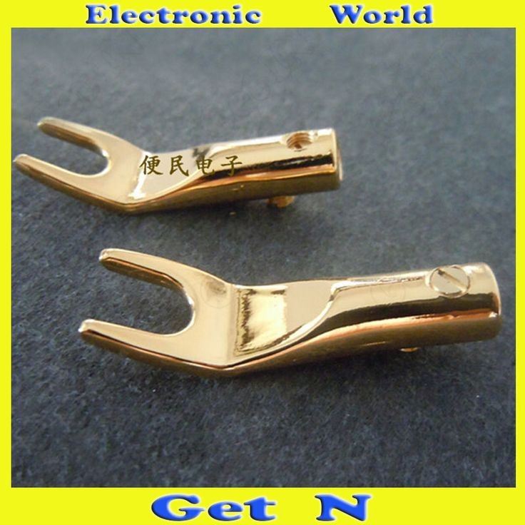 10pcs-100pcs Studio Speaker Connectors Gold Plated Y Fork Free Welding Connectors Y Spade Plugs #Affiliate