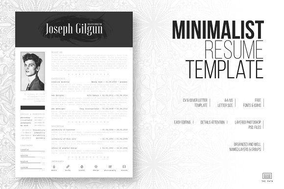 Minimalist Resume   CV Template by The Path on @GraphicZN #CV - minimalist resume template
