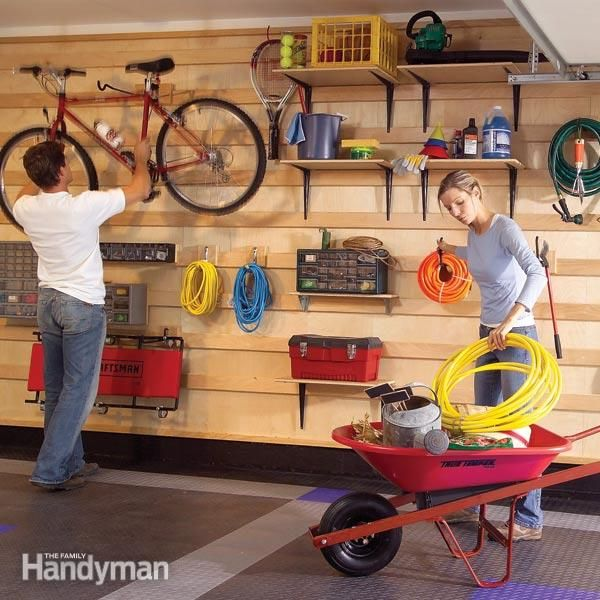 This garage wall hanging storage system makes every inch count. You can easily store all kinds of tools, bikes, garden equipment and even add shelves and bi