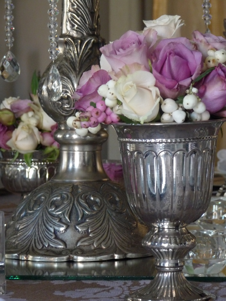 Crystal, Roses, Silver and damask tablecloths