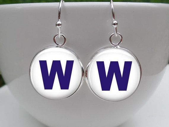 "These Chicago Cubs Earrings are the famous ""W""  Flag that resides above Wrigley Field after every win. Let's support our Cubbies!"