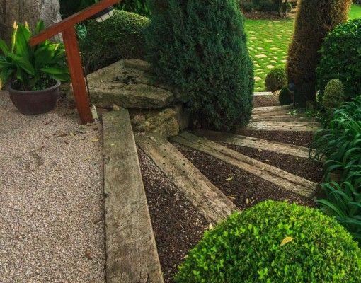 travesses de faig extra extra per a fer escales rústiques a l'exterior - Jardi Pond