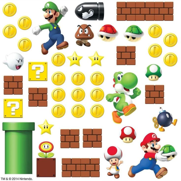 SUPER MARIO Bricks Coins 45 BiG Wall Luigi Nintendo Decals Room Decor Stickers E  | eBay