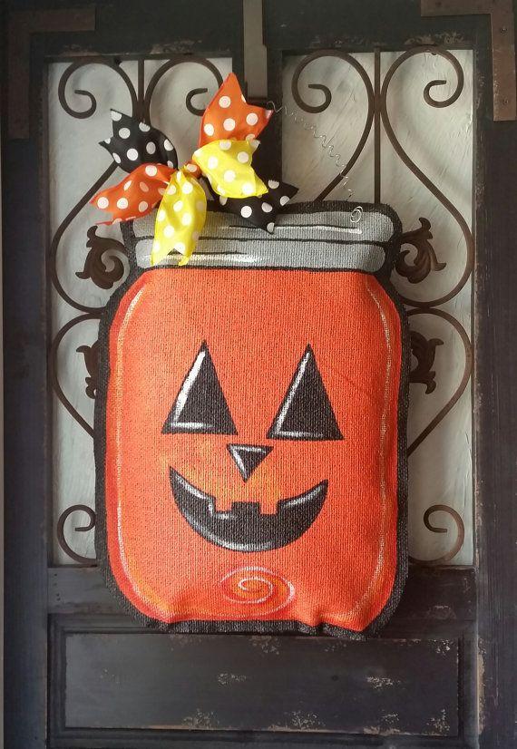 Halloween hand painted burlap door hanger. Fall door decoration, Mason jar door hanger with jack o lantern face