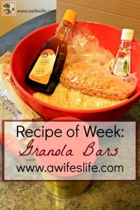 A homemade granola bar recipe on www.awifeslife.com