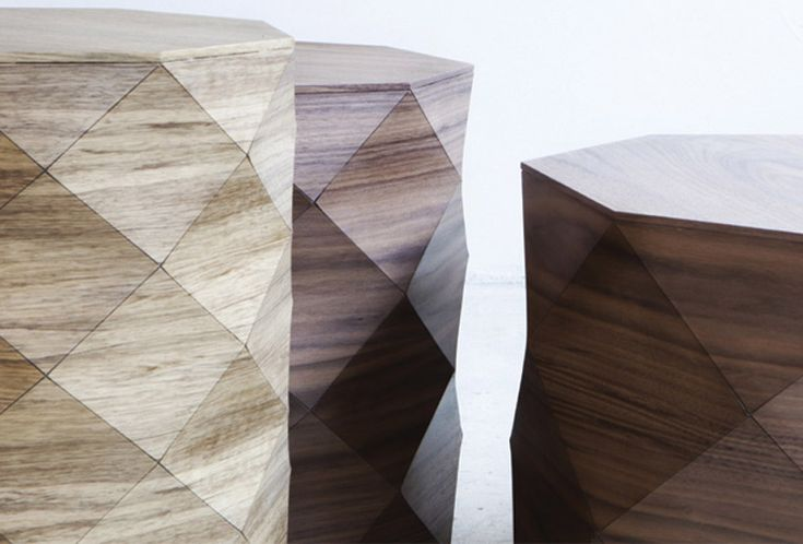 Tesler-Mendelovich has designed 'diamond woods' a series of coffee tables and stools for tel aviv-based talents design studio.  By combining natural fibers and materials together alongside new manufacturing technologies and processes, the manipulated forms result in individually uniquely crafted objects.