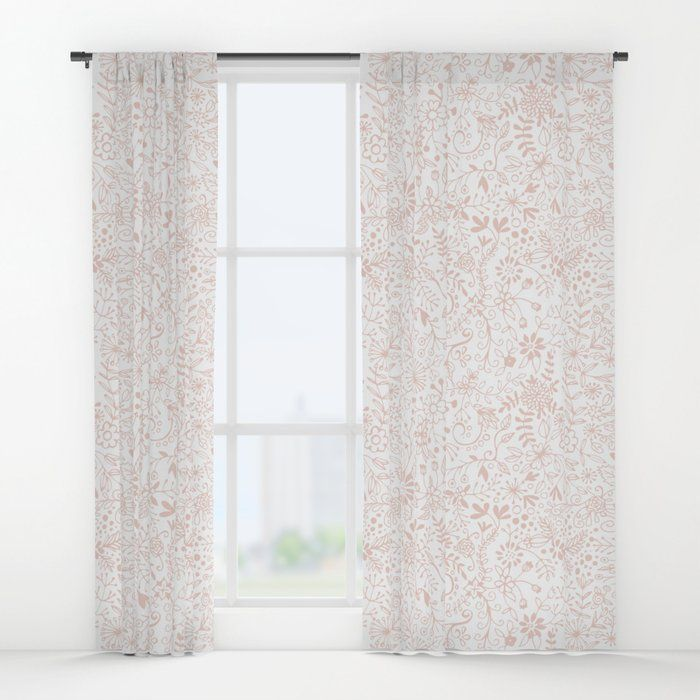 Pastel Pink On White Floral Pattern Window Curtains By Olooriel