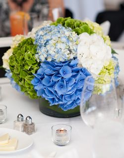 Green and Blue Hydrangea reception wedding flowers,  wedding decor, wedding flower centerpiece, wedding flower arrangement, add pic source on comment and we will update it. www.myfloweraffair.com can create this beautiful wedding flower look.