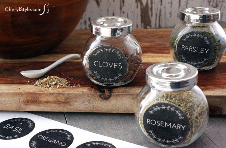 Printable spice jar labels using Sizzix Big Shot - CherylStyle