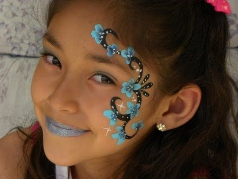▶ DISEÑO DE PINTACARITAS PARA NIÑAS FACIL Y RAPIDO .- EASY FACE PAINTING FOR GIRLS. - YouTube