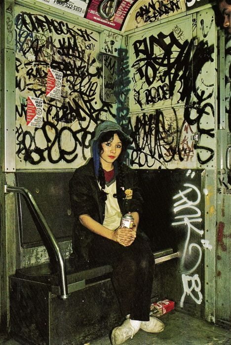 The beautiful and very talented O.G. Lady Pink started tagging Subway trains at age 16. She was not the first females to write graffiti, but she is credited with opening the doors for other female writers. From her subway cars to walls in NYC Lady Pink held her own! She is Incredibly influential and iconic for the female graffiti world!