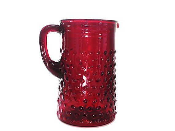Anchor Hocking Ruby Red Hobnail Pitcher Collectible Red ...