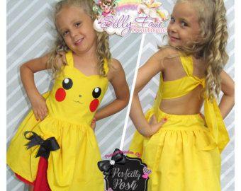 Mädchen gehen Sie benutzerdefinierte Pokemon Pikachu Gesicht Geburtstag Party Festzug Kleid