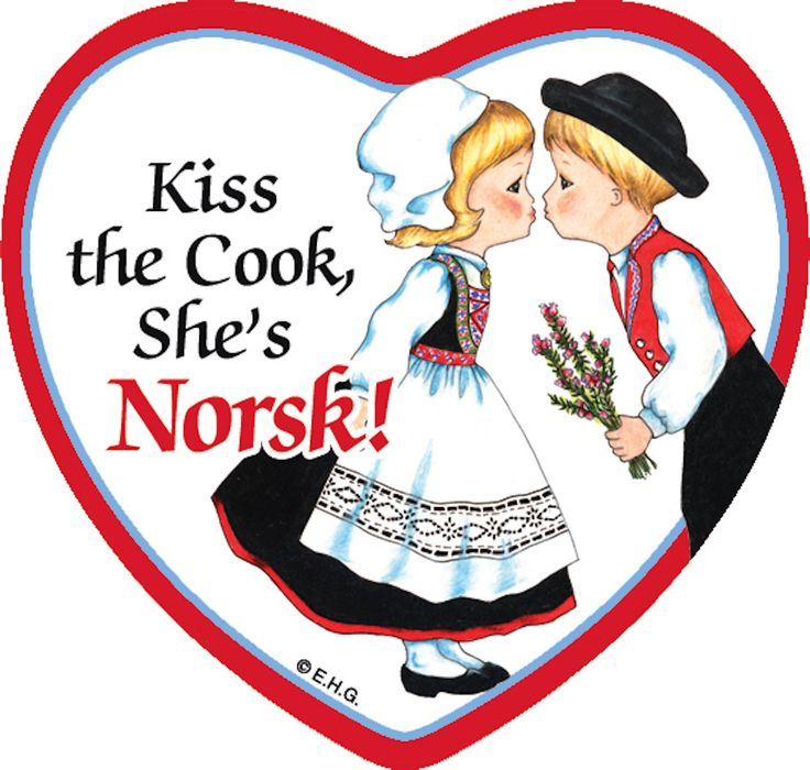"This charming heart shaped ceramic tile magnet features the saying: ""Kiss the cook she's Norsk!"" - Check our other Norsk Items! - Check out our other heritage items! - Approximate Dimensions (Length x"