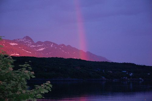 Midnight sun and rainbow at the same time - Seven sisters mountains